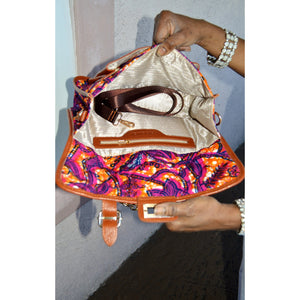 Designer Brown African Print Messenger Bag - Zabba Designs African Clothing Store