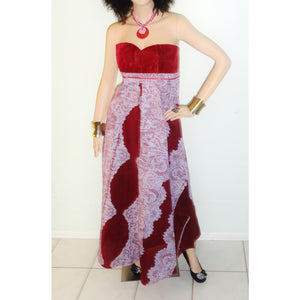 Cape African  Print Strapless Maxi Dress - Zabba Designs African Clothing Store