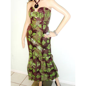 Strapless Green African Inspired Maxi Dress - Zabba Designs African Clothing Store