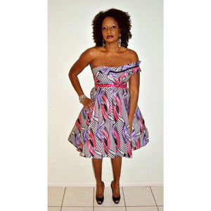 African Print Short Dress, The Shirley Dress - Zabba Designs African Clothing Store