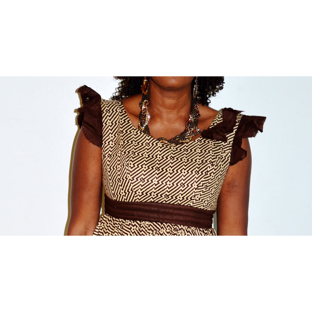 Beige And Brown Party Dress - Zabba Designs African Clothing Store