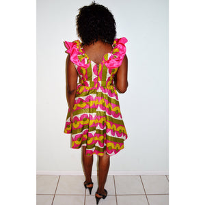 Green And Pink Wax Print short Dress - Zabba Designs African Clothing Store