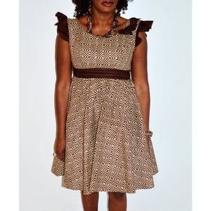 Beige And Brown African Print Party Dress - Zabba Designs African Clothing Store