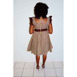 Soflo Beige And Brown African Midi Dress - Zabba Designs African Clothing Store