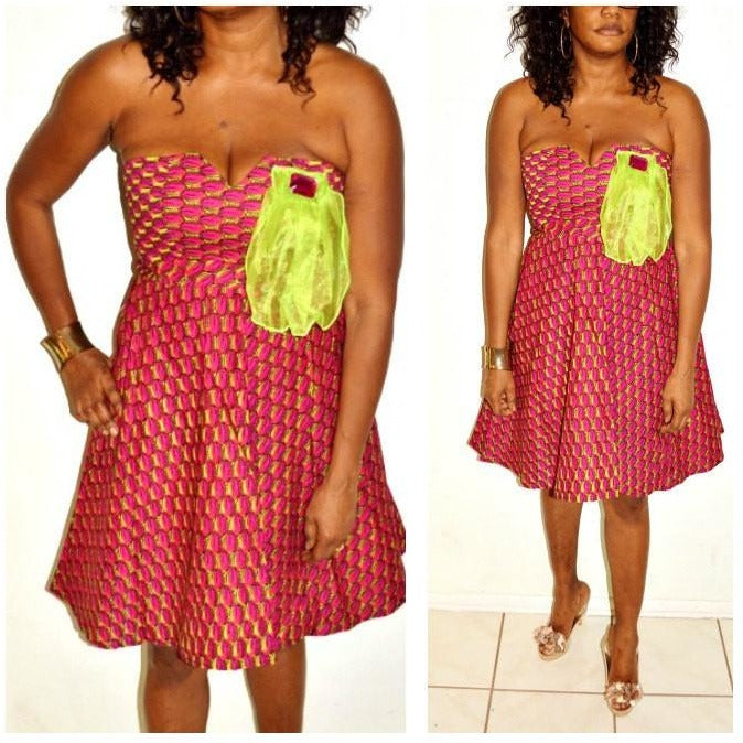 Strapless African Print Cocktail Dress - Zabba Designs African Clothing Store  - 2