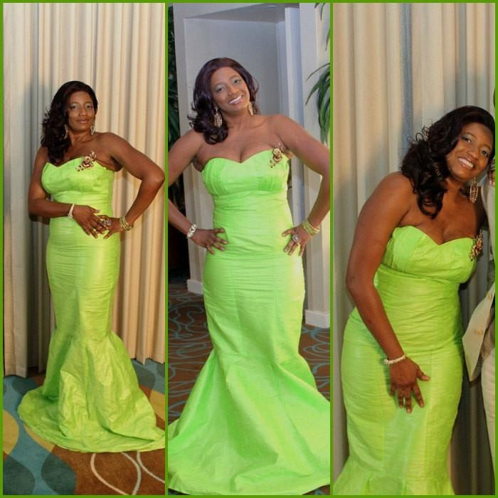 Green African Bazin Formal Dress - Zabba Designs African Clothing Store