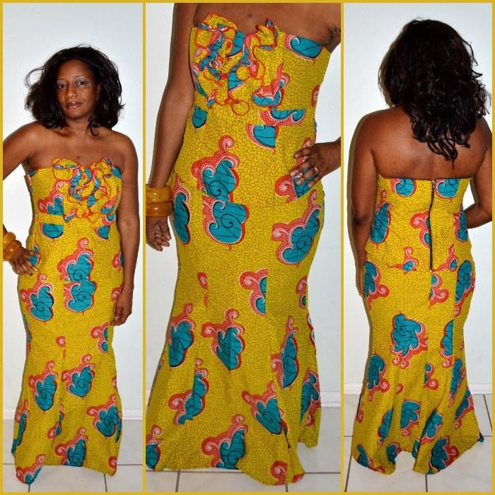 Mustard Ankara Bustier With Ruffle Skirt Dress - Zabba Designs African Clothing Store