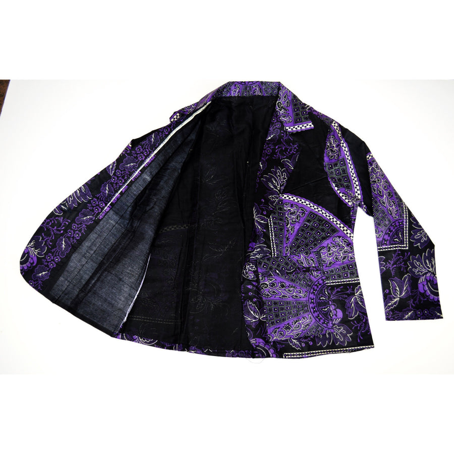 Purple And Black African Print Jacket - Zabba Designs African Clothing Store