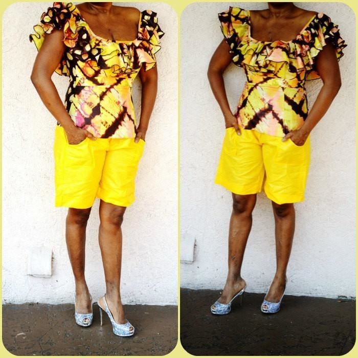 Yellow African Inspired Bazin Shorts - Zabba Designs African Clothing Store  - 1