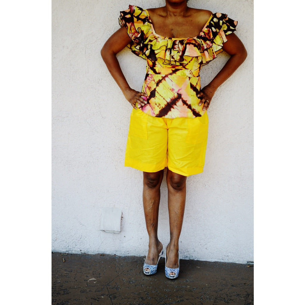 Yellow African Inspired Bazin Shorts - Zabba Designs African Clothing Store  - 3
