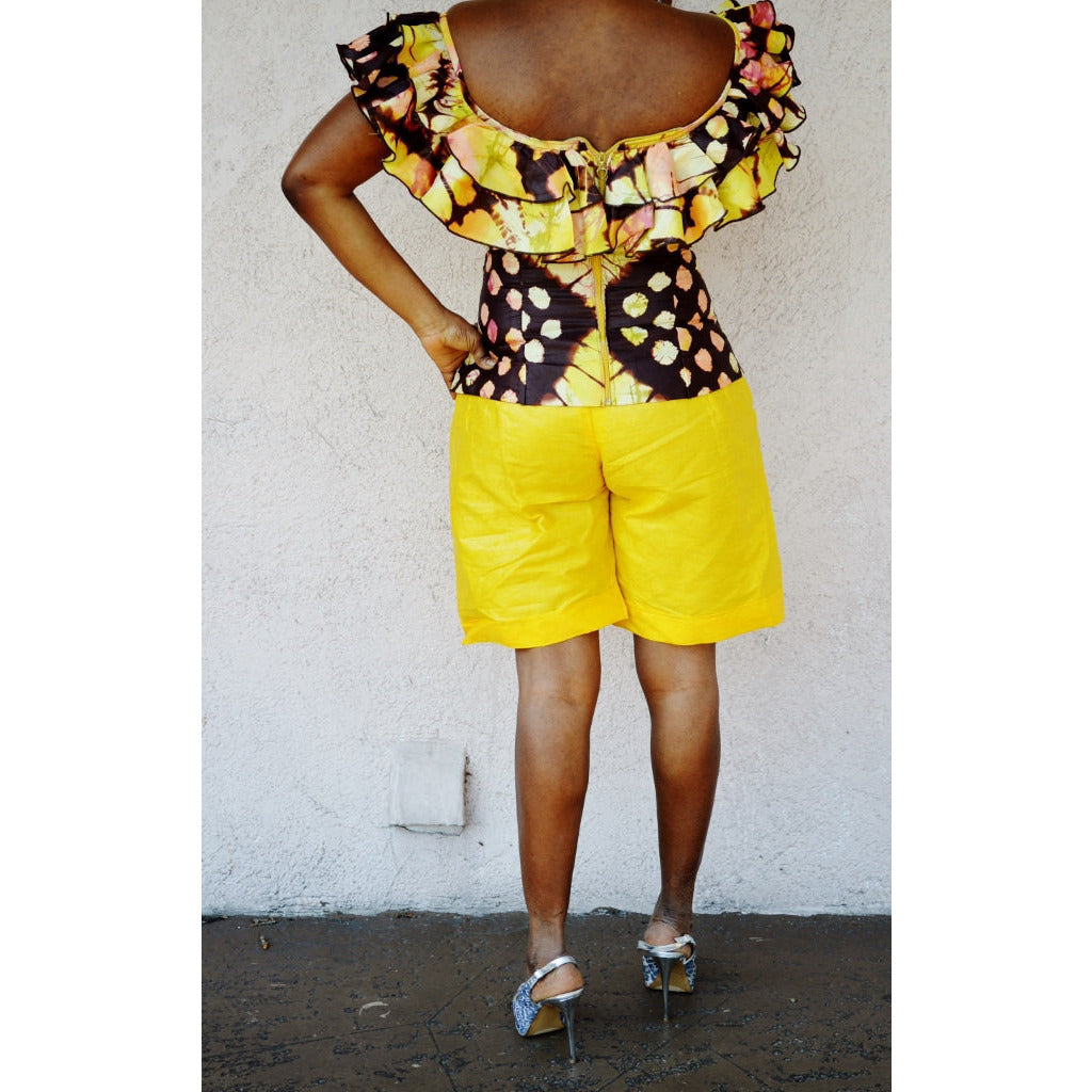 Yellow African Inspired Bazin Shorts - Zabba Designs African Clothing Store  - 4