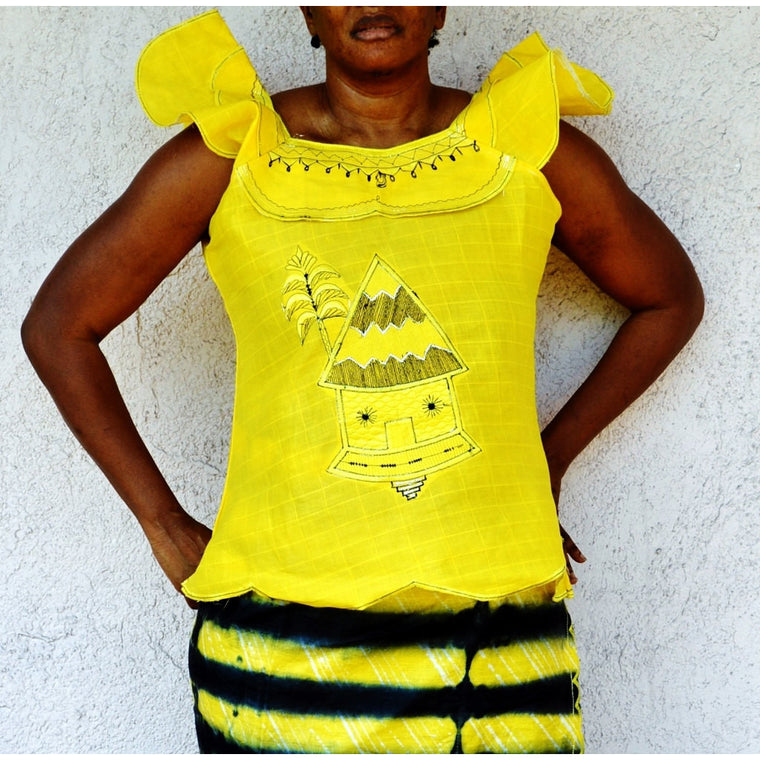 Yellow And Black African Dress - Zabba Designs African Clothing Store
