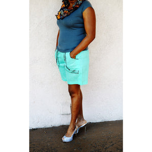 Sage And Black African Print Summer Shorts - Zabba Designs African Clothing Store