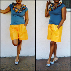 Riham Orange African Bazin Shorts - Zabba Designs African Clothing Store