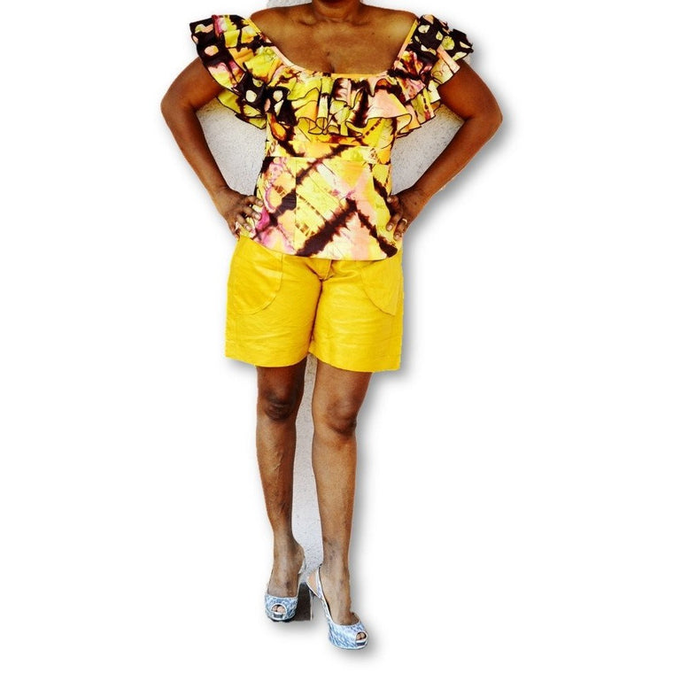 African Fashionable Mustard Tribal Shorts - Zabba Designs African Clothing Store
