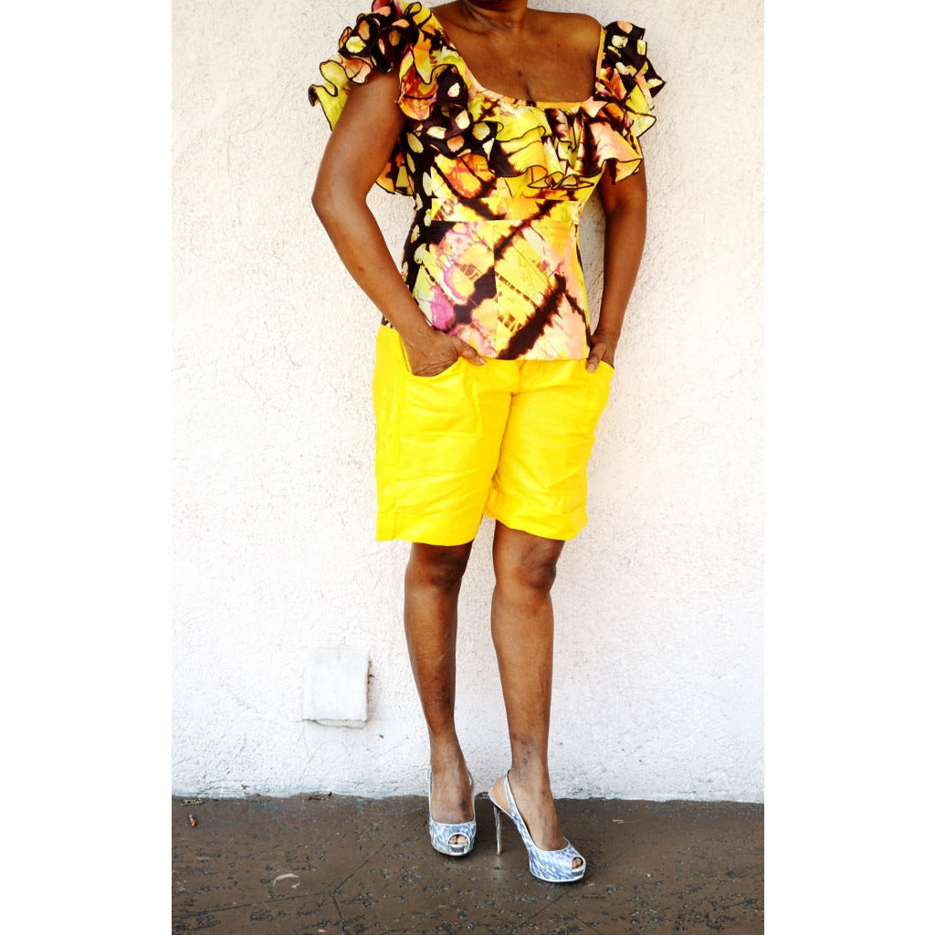 Yellow African Inspired Bazin Shorts - Zabba Designs African Clothing Store  - 5