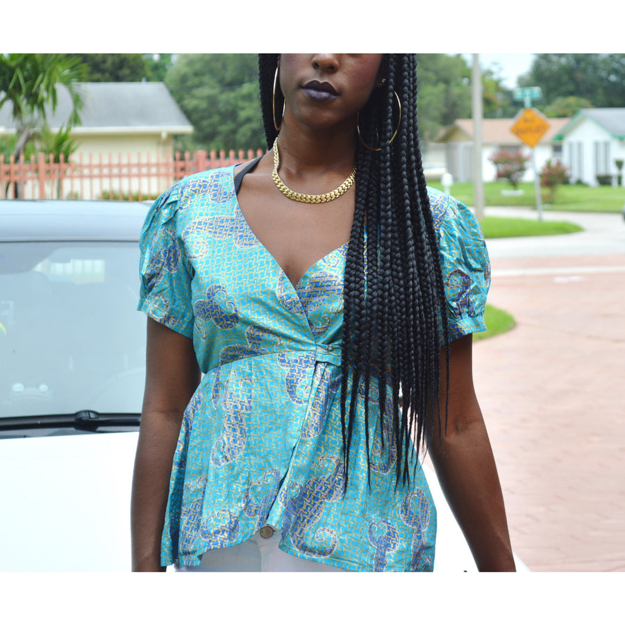 Blue pleated Top Jacket - Zabba Designs African Clothing Store