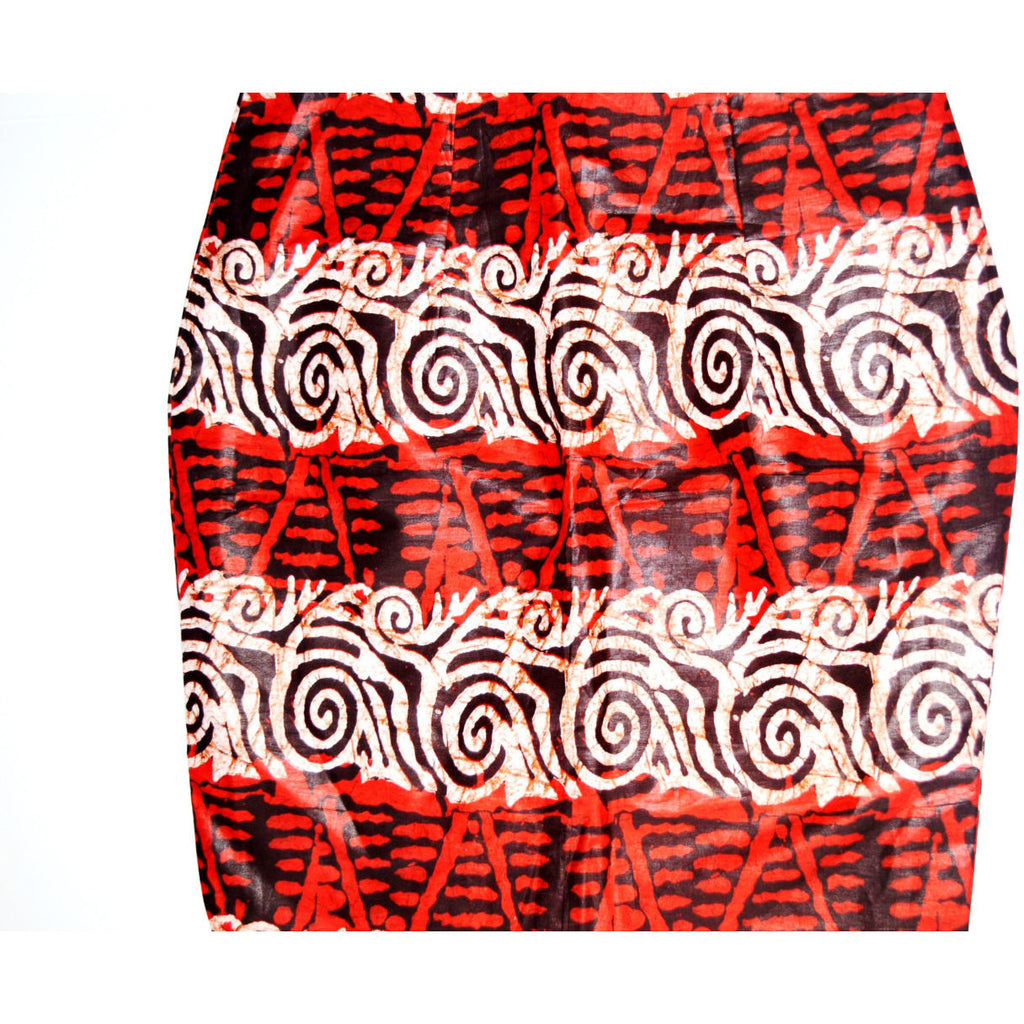 Red African Wax Print Mini Skirt - Zabba Designs African Clothing Store