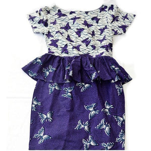 African Print Purple And White Peplum Dress - Zabba Designs African Clothing Store