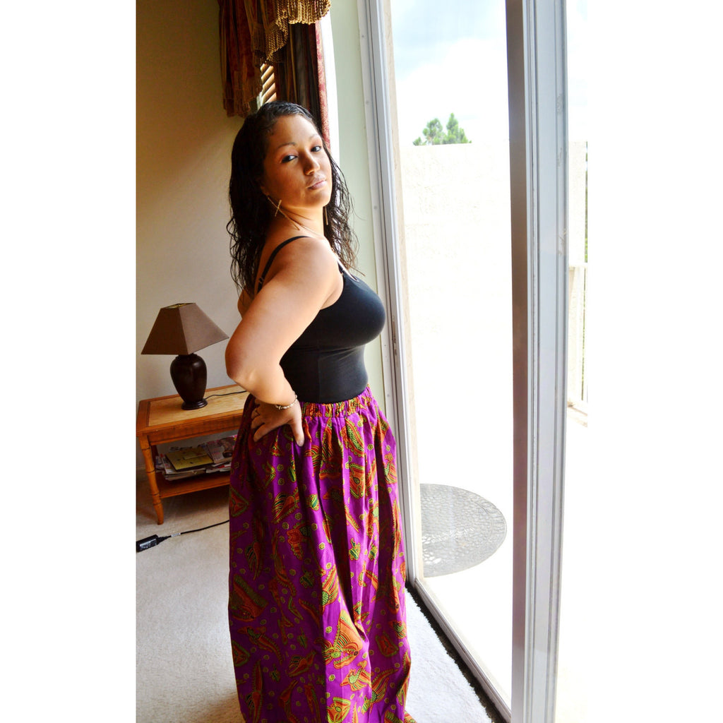 Purple Cotton Maxi Skirt - Zabba Designs African Clothing Store