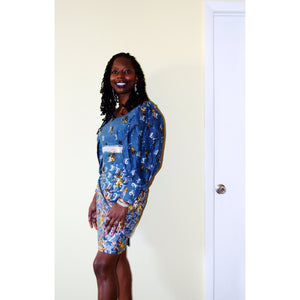 Blue And Silver African Fabric Short Dress With Boho Sleeve - Zabba Designs African Clothing Store