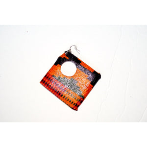 Large Fabric Covered Wood Earrings, Brown And Orange - Zabba Designs African Clothing Store