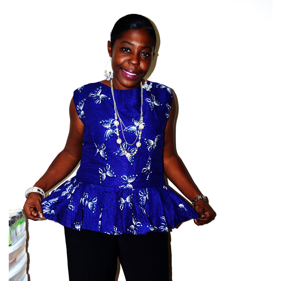 purple And White African Ankara Blouse - Zabba Designs African Clothing Store
