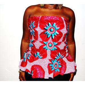Jamz Strapless African Print Blouse - Zabba Designs African Clothing Store