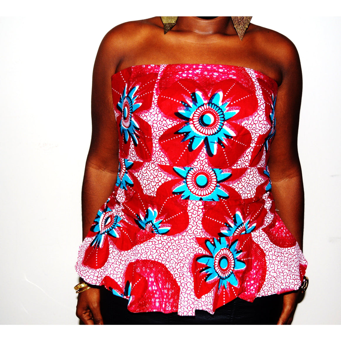 Jamz Pink And Green African Print Strapless Party Top - Zabba Designs African Clothing Store