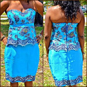 Tiffany Blue And Lace 2 Piece Midi Dress - Zabba Designs African Clothing Store