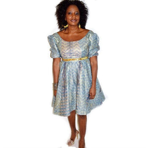 Blue Ankara Print African Dress - Zabba Designs African Clothing Store
