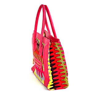 Designer Pink African Kitenge Wax Print Top Handle Bag - Zabba Designs African Clothing Store