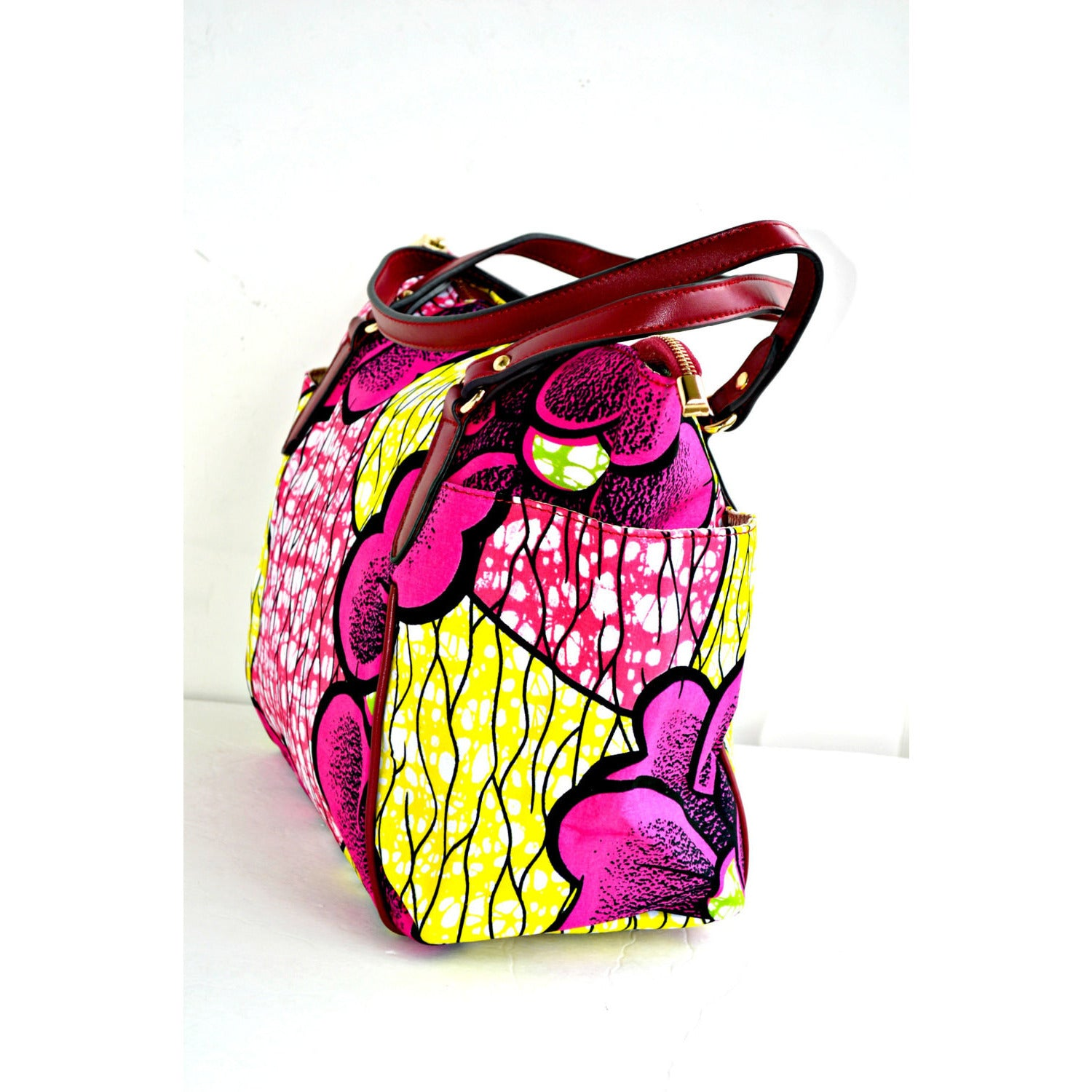 Large African Print Tote Pink And Yellow Print With