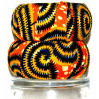 Orange Circle Fabric Cover Bangles Bracelet - Zabba Designs African Clothing Store