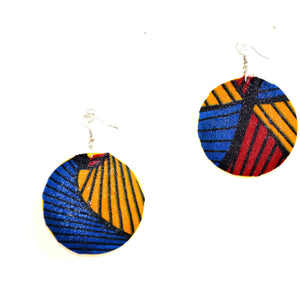 Red Blue And Yellow Fabric Cover Earrings African Jewelry - Zabba Designs African Clothing Store