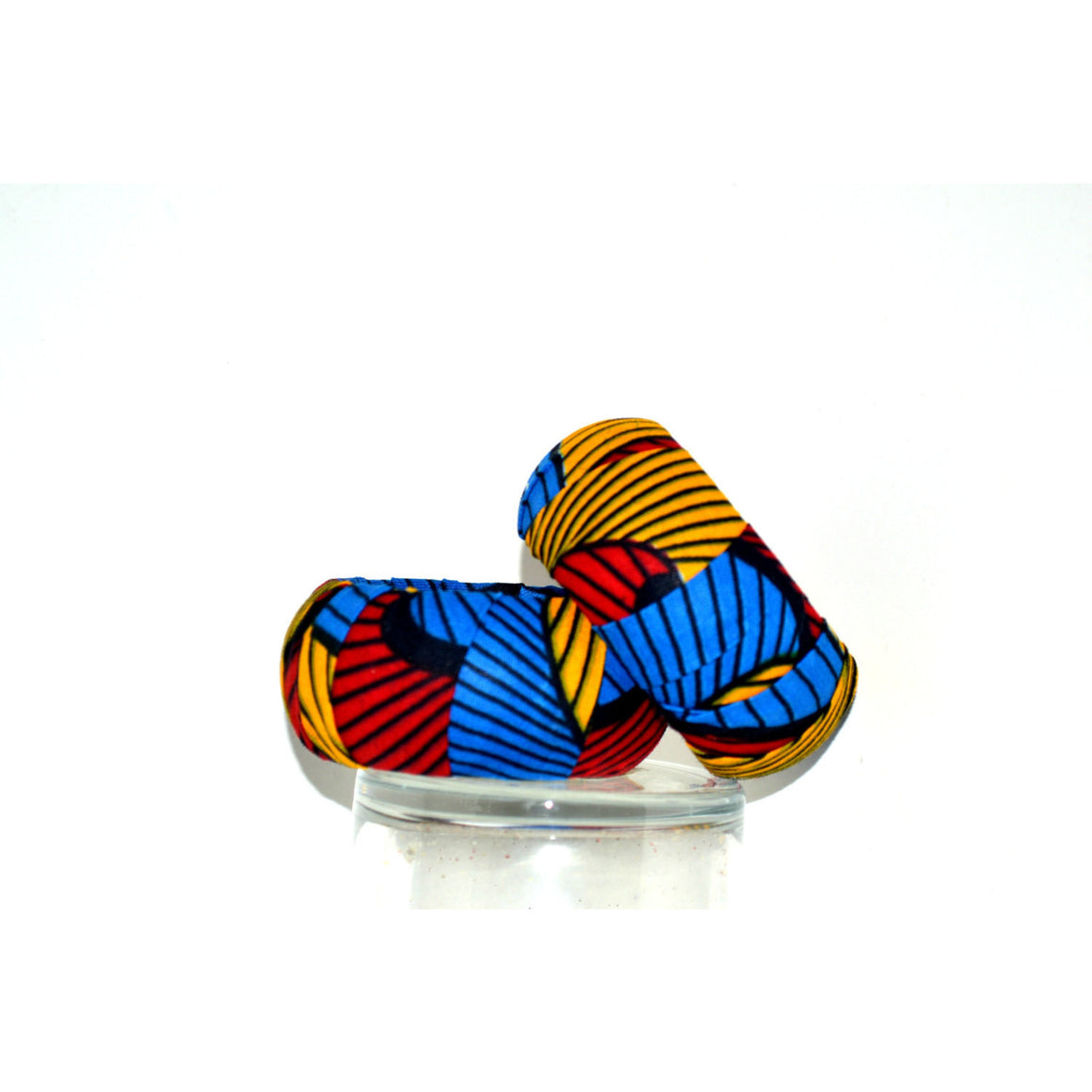 Blue And Red Wood African Print Bangles - Zabba Designs African Clothing Store