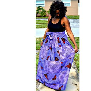 COLLETT Purple Romantic Maxi Skirt - Zabba Designs African Clothing Store