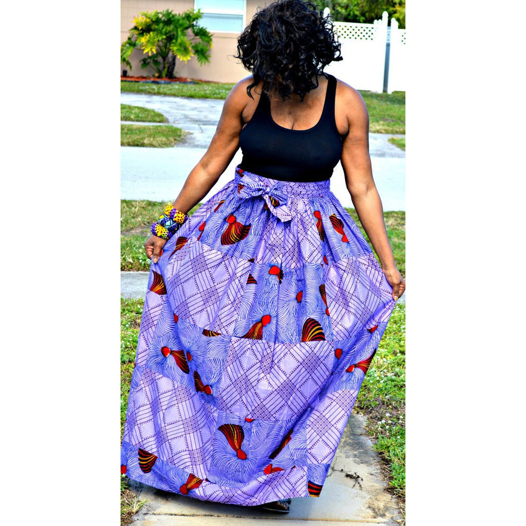 Purple Romantic Maxi Skirt - Zabba Designs African Clothing Store