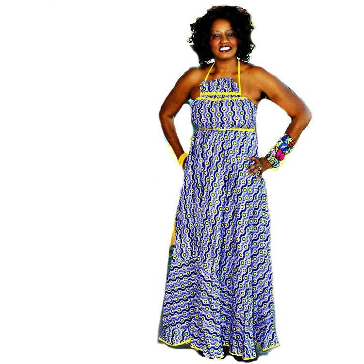 Purple Halter African Print Maxi Dress - Zabba Designs African Clothing Store