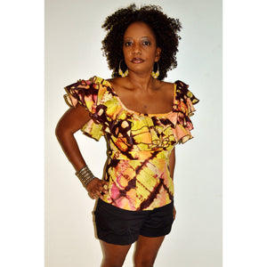Off Shoulder Yellow And Brown Tie Dye  Blouse - Zabba Designs African Clothing Store