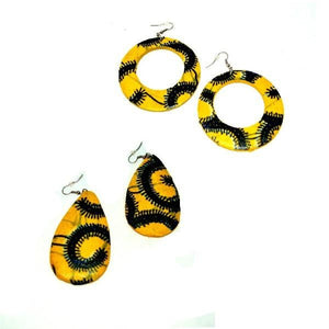 Large Yellow Earrings Big Wood Earrings - Zabba Designs African Clothing Store