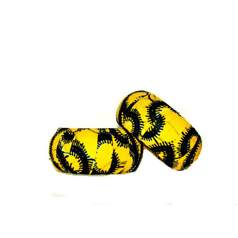 Yellow African Fabric Cover Wood Bracelet - Zabba Designs African Clothing Store