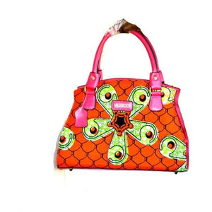 Orange And Green African Bag With Leather Straps - Zabba Designs African Clothing Store