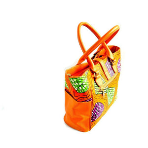 Orange African Wax Print Large Top Handle Hobo Bag - Zabba Designs African Clothing Store