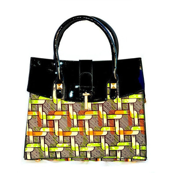 Brown African Fabric Tote Bag - Zabba Designs African Clothing Store