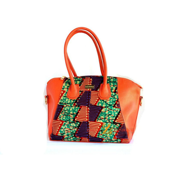 Designer Top Handle Bag Coral African Wax Print