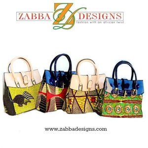 Green And Purple African Fabric Bag - Zabba Designs African Clothing Store