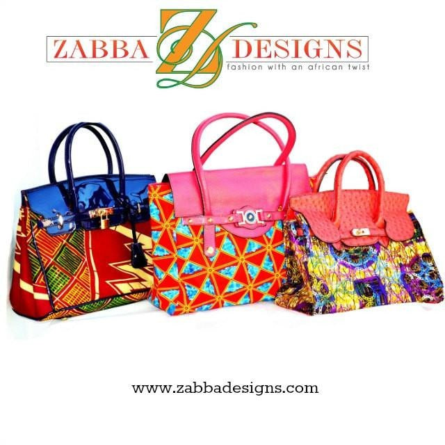 Designer Top Handle Bag Coral African Wax Print - Zabba Designs African Clothing Store
