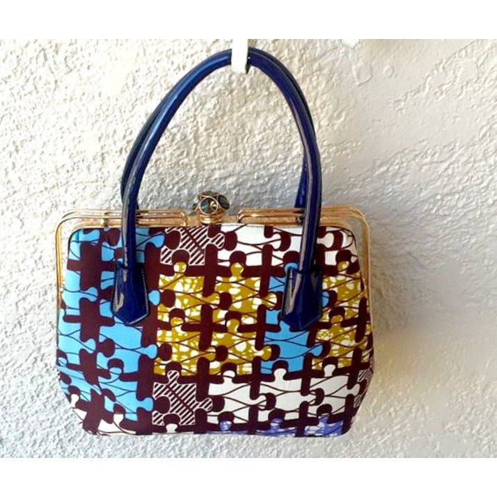 Brown African Print Bag - Zabba Designs African Clothing Store