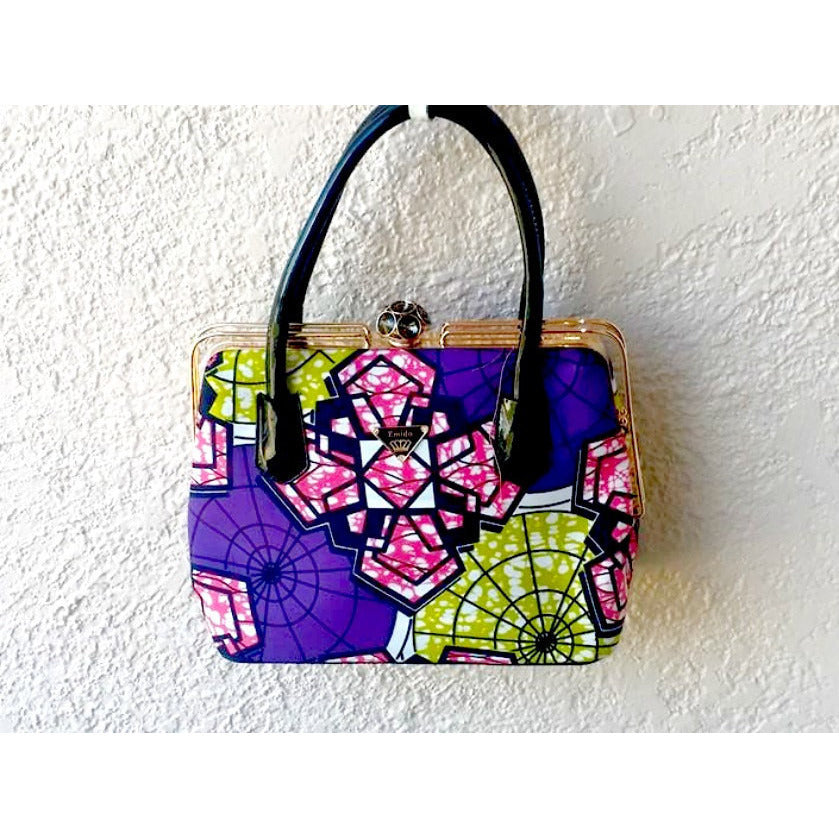 Designer African Print Tote Bag Purple - Zabba Designs African Clothing Store
